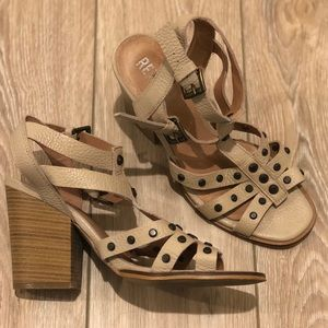 Renvy Tan Wedge Sandal with Side Buckles & Buttons